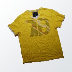 Angelo Litrico T-Shirt with White Trim Neck Yellow